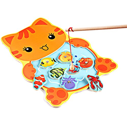 (Cat) Baby Kids Magnetic Fishing Game Board Wooden Animal Frog Cat Fishing Toy with 2 Fishing Rod by ThePuzzleClub