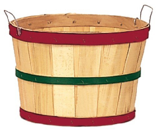 One Dozen Natural 1/2 Bushel Baskets with Red and Green Hoops by TB (Image #1)
