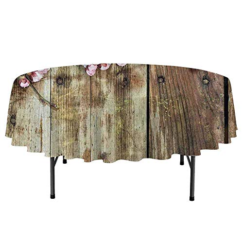 Rustic Home Decor Washable Round Tablecloth Stained Walnut Branch with Soft Twiggy Swirling Flower Leaves Concept Dinner Picnic Home Decor D40 Inch Pink Brown