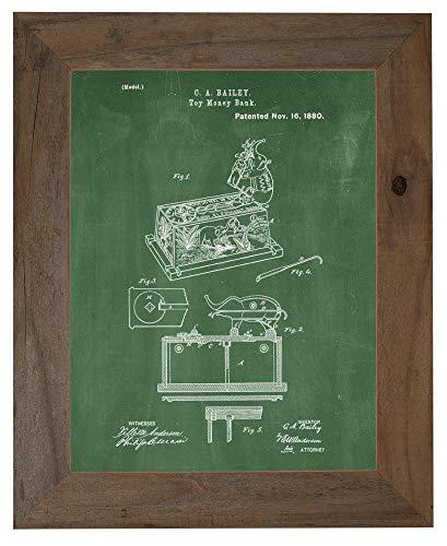 Toy Money-Bank Patent Art Green Chalkboard Print in a Barnwood Frame (16