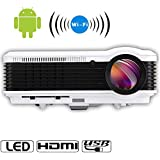 Android 3600 Lumen LCD LED Projector Outdoor Movie System Home Theater Video Projector HD Support 1080P WiFi Wireless Connect for iPhone Smartphone Laptop, Built in Speakers