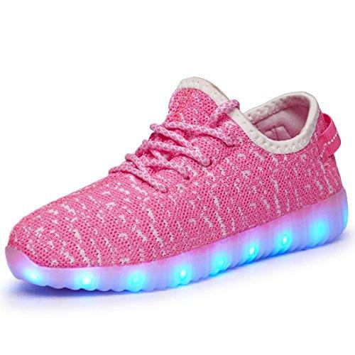 Sidiou Groep Unisex Paar Licht Trainers 7 Kleuren Usb Opladen Lichtgevende Sneakers Lace Up Led Schoenen (roze, 10.5uk = 45eu)