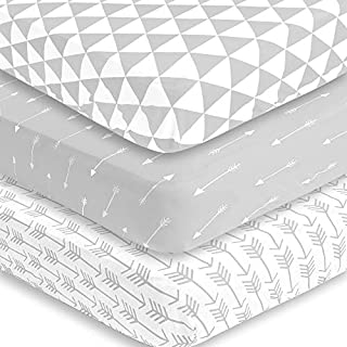 BaeBae Goods Fitted Baby Crib Sheets for Boys and Girls, 3 Pack, Soft and Breathable Jersey Cotton, Grey and White, Cute Gender Neutral Nursery Mattress Bedding, Universal Fit