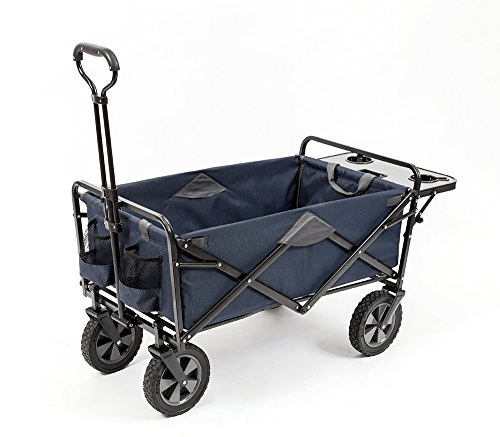 affordable Mac Sports Collapsible Outdoor Utility Wagon with Folding Table and Drink Holders, Blue