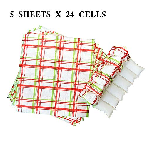5 Pcs Ice Pack Cooler Sheets - Reusable Large Ice Sheets (4 x 6 Cells = 24 Large Cells Each) - No Slimy & Flexible. Extreme Freeze Cooling for Hiking Camping - Keep Food Fresh and Beverage Cold