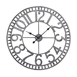 Utopia Alley Manhattan Industrial Wall Clock, Analog, Pewter
