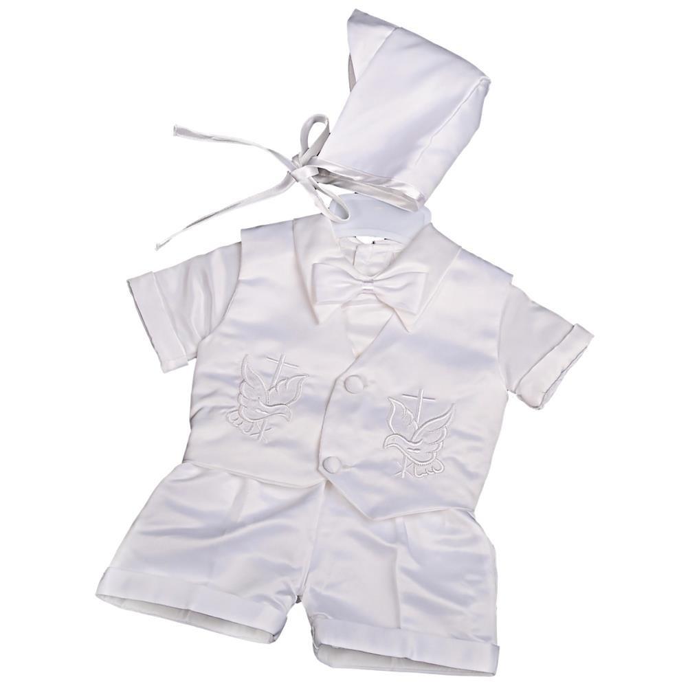 Lito Angels Baby Boys 4 Pcs Satin Baptism Christening Suit with Bonnet Short//Long Sleeves Infant