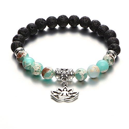 17mile Volcano Bead Natural Stone Gemstone Bracelet Stretchable Prayer Stone bracelet Gifts for women