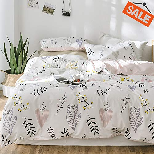 VClife Cotton Bedding Duvet Cover Sets Queen Full Plant Floral Pattern Bedding Sets Queen 1 Boho Duvet Cover 2 Pillowcases 200 TC Hotel Quantity Lightweight Soft Queen Bedding Collection with Zipper