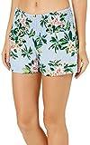 Derek Heart Juniors Striped Tropical Floral Soft Shorts Small Blue Multi