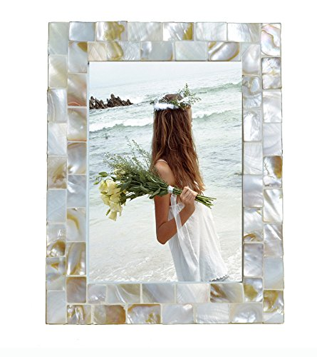 GIFTME 5 Mother of Pearl Photo Frame,Beach Picture Frame (5x7, Natural White) Modern White Mother Of Pearl