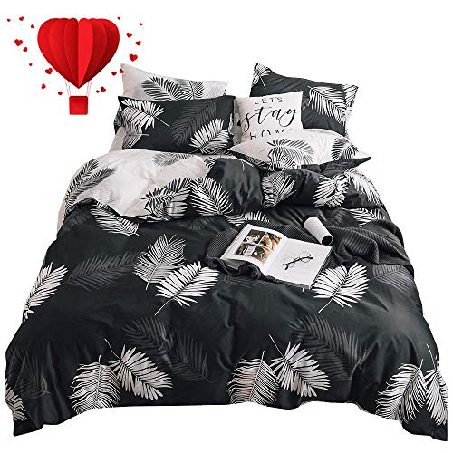 BuLuTu Tropical Queen Duvet Cover with Fitted Sheet Cotton Black White,4 Pieces Modern Botanical Leaf Boho Reversible Teen Boys Girls Comforter Cover Full Queen Bedding Sets,No Comforter