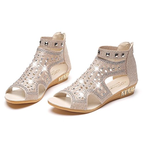 Caopixx Roman Shoes, Women Fish Mouth Hollow Crystal Sandals Summer Zip Roman Shoes (Asia Size 38, Beige)