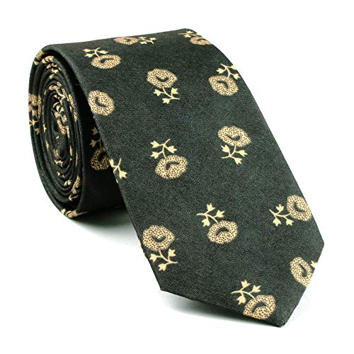 Men Kid Dark Grey Elegant Floral Blossom Printed Necktie Spring Cotton Chinese Fashion Long ()