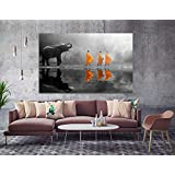 Orlco art HD Print Thailand Elephant Walk Behind Monks Buddha Zen Wall Art with Frame Picture Canvas Prints for Study or Office Zen Wall Decor Paintings Black and White Yellow 24x36inch