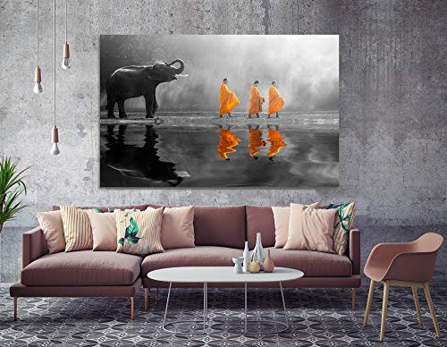 (Orlco Art Zen Pictures Paintings Print Wall Decor Thailand Elephant Walk Behind Monks Buddha Zen Wall Art with Frame Picture Canvas Prints for Study or Office Black and White Yellow 24x36inch)