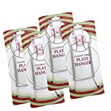 BANBERRY DESIGNS Chrome Vinyl Coated Plate Hanger 8 to 10 Inch - Set of 4 Pcs - Clear Vinyl Sleeves Protect The Plate - Hook and Nail Included