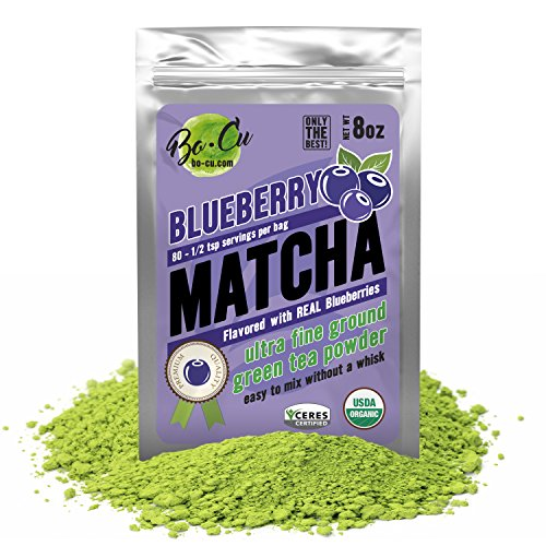 (Blueberry Organic Matcha Green Tea Powder - 80 Servings, 8 oz - 2 Ingredients, Natural Flavored Instant Tea for Drinking, Smoothies or Baking, Grade A Matcha)