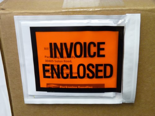 Invoice Enclosed Packing List Envelopes Full Face Back Load 2.0 Mil Thick - 4.5
