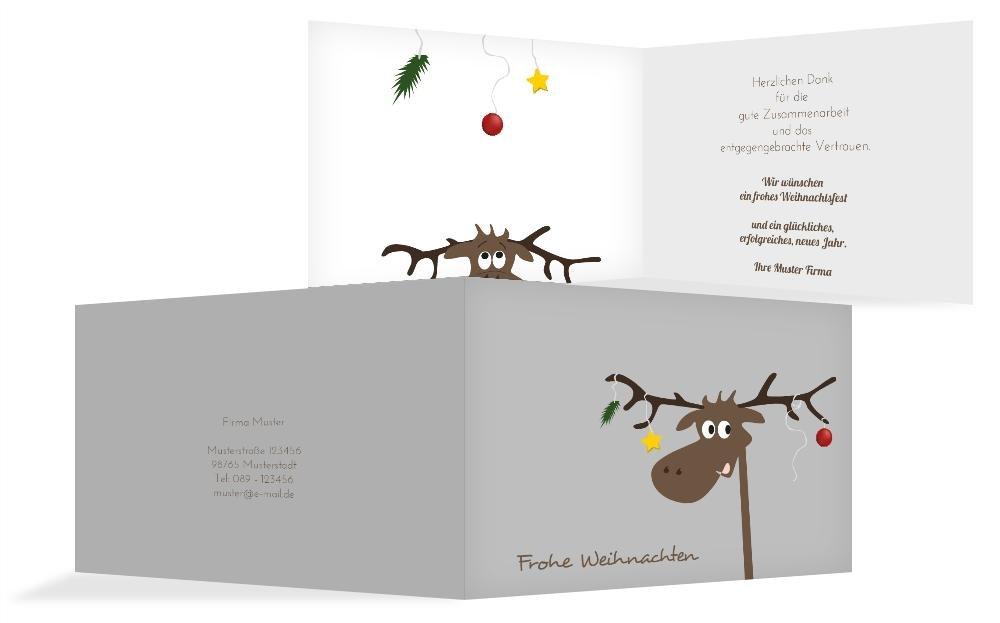 Weihnachtskarten  Weihnachts Grußkarte geschäftlich Elch, hochwertige Grußkarte zu Weihnachten inklusive Umschläge   30 Karten (Format  296.00x105.00mm) Farbe  Grau