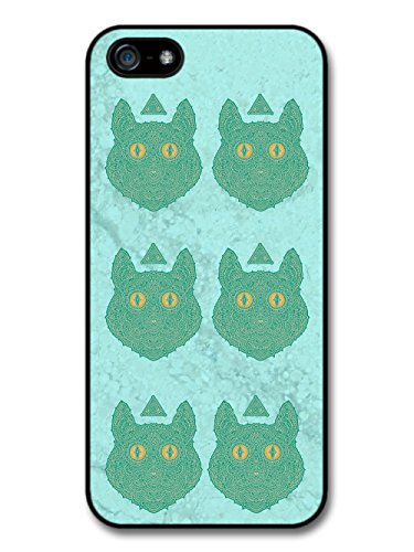 Blue Cat Face Illustration Pattern on Marble case for iPhone 5 5S
