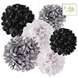 Andaz Press Hanging Tissue Paper Pom Poms Party Decor Trio Kit with Free Party Sign, White, Black, Silver, 6-Pack, For Baby Bridal Shower Decorations