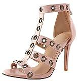 Aisun Women's Open Toe Sandals with Zipper - Sexy Gladiator Cutout - Ankle Strap Stiletto High Heels (Pink, 7 B(M) US)