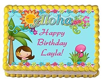 Hawaiian Luau Edible Image Cake Topper Party Supply Birthday