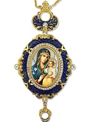 Blue Framed Catholic Orthodox Madonna and Child Christ Icon Pendant 5 3/4 -