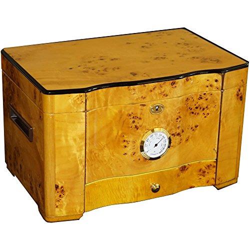 The Golden - Cigar Humidor - 120 Cigar Capacity - Exotic High Piano Gloss Birdseye Maple Burl Exterior, Spanish Cedar Interior (15 1/8''x 9 1/2'' X 7 7/8''). by H20