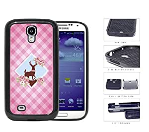 Pink Plaid Pattern with Cute Floral Deer Diamond Center Design Samsung Galaxy S4 i9500 (2-piece) Dual Layer High Impact Cell Phone Case