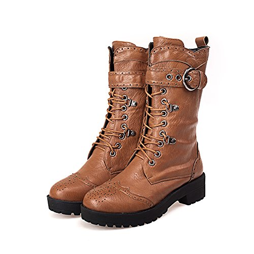 Toe Riding Round Lace Up Boots Knee Heel Womens Boots Tale Female Yellow Chunky Shoes ShoeN High xStARwW
