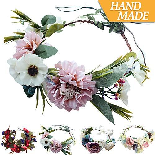 Handmade Adjustable Flower Wreath Headband Halo Floral Crown Garland Headpiece Wedding Festival -