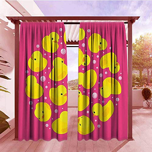 - Thermal Insulated Blackout Curtains Rubber Duck Fun Baby Duckies Circle Artsy Pattern Kids Bath Toys Bubbles Hot Pink Animal Print Waterproof Patio Door Panel W96x72L Pink Yellow