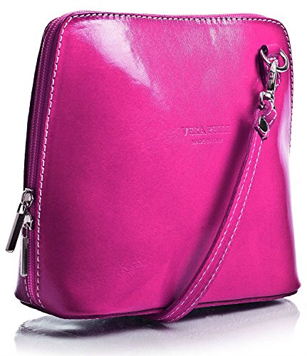 Vera Pelle Mini Italian Real Leather Cross-Body Handbag
