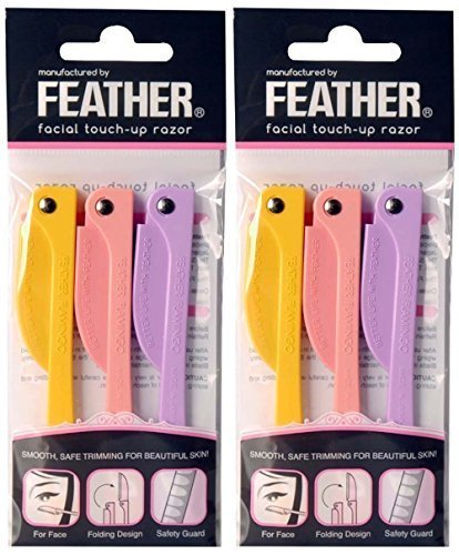 Feather Flamingo Facial Touch-up Razor ( 3 Razors X 2 Pack )