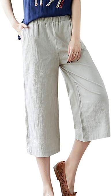 Pantalones Anchos De Lino Para Mujer Pantalones De Yoga Con Parche Pantalones De Festivo Verano Pantalones Sueltos De Haren Para Mujer Pantalones De Lino De Algodon Con Bolsillo Casual Pantalones Amazon Es Ropa