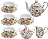 Gracie China by Coastline Imports Pink Rose Bouquet Rose Chintz 11-Piece Tea Set
