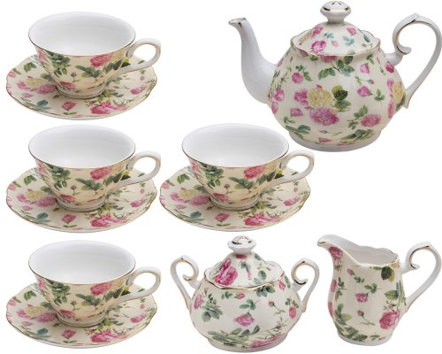 Gracie China by Coastline Imports Pink Rose Bouquet Rose Chintz 11-Piece Tea (Bouquet Creamer)