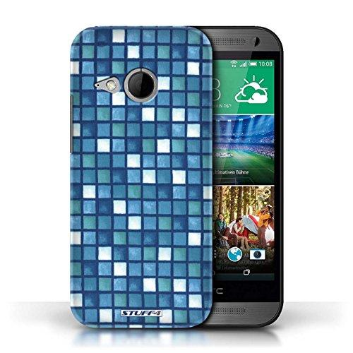 Etui / Coque pour HTC One/1 Mini 2 / Bleu/Blanc conception / Collection de Carreau Bain