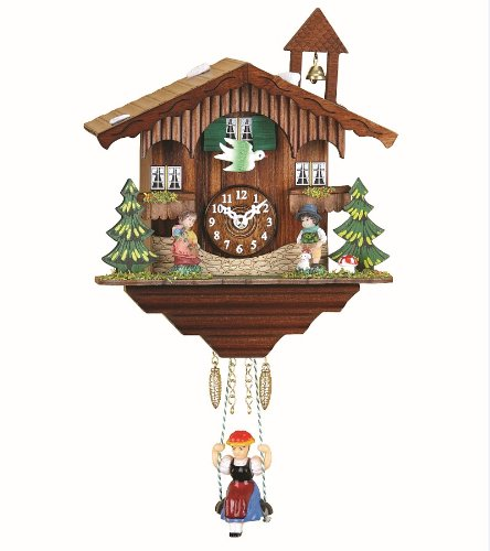 Kuckulino Black Forest Clock Swiss House with quartz movement and cuckoo chime, incl. batterie TU 2041 SQ Trenkle