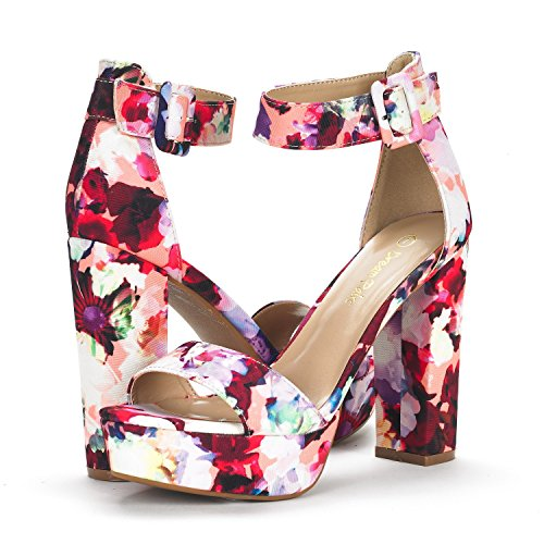 Sandals Wedding Chunky Toe Stiletto Strap High Platform LO Women's Evening PAIRS Pumps HI Dress DREAM Open Floral Heel Ankle wFqTRT