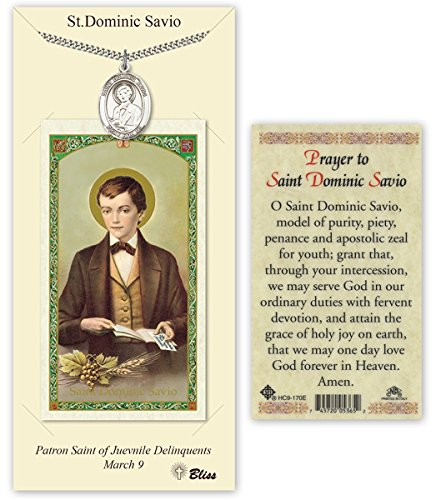 - Pewter Saint Dominic Savio Medal with Laminated Holy Prayer Card