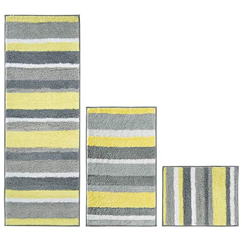 mDesign Striped Microfiber Polyester Spa Rugs for Bathroom Vanity, Tub/Shower - Water Absorbent, Machine Washable, Includes Soft Non-Slip Rectangular Accent Rug Mat in 3 Sizes - Set of 3 - Gray/Yellow