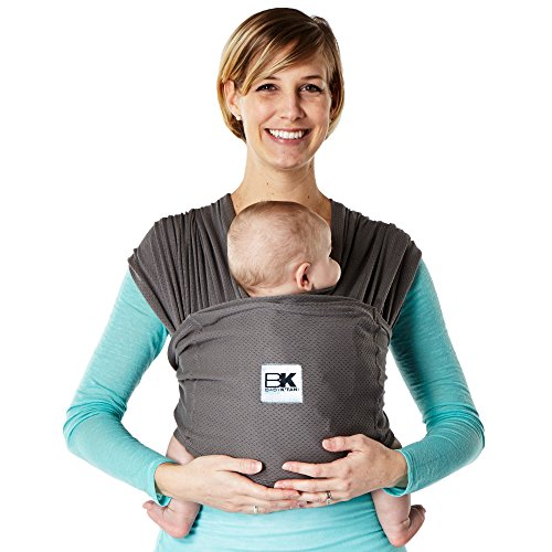Baby K'tan BREEZE Baby Carrier, Charcoal Grey Cotton Mesh (L)