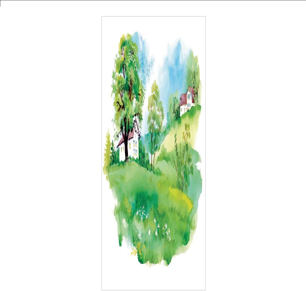 Decorative Privacy Window Film/Pastoral Countryside View with Houses on Valley Lily Lands Up Back to The Nature/No-Glue Self Static Cling for Home Bedroom Bathroom Kitchen Office Decor Multicolor