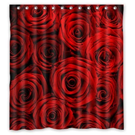 Rose Gold Shower Curtain Rod Angle Red Flower Amazoncouk Kitchen Home