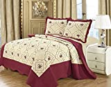 IMPERIAL ROOMS 3 piece Embroidered Quilted Poly Cotton Bedspread Beautiful Floral Luxury Bedding sets Throw sets Pillows Comforter Set ( Single / Burgundy ) Include 1 Bedspread & 2 Pillow shams, Perfect For Bedroom, Guest Room, Treat Your Bedroom With Our Latest Collection Of Bedding Sets.