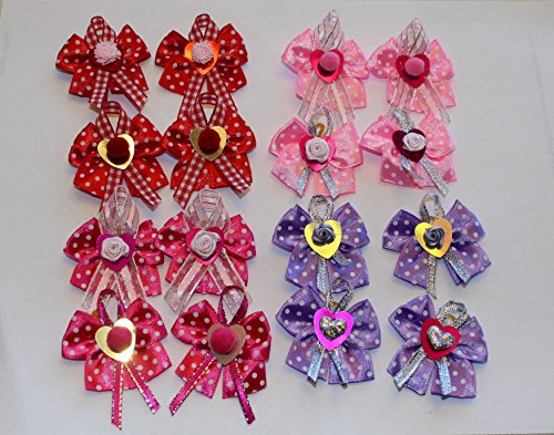 Pack of 16 Unique Dog/Baby Hair Bows for Valentine's Day Collection-Multi-layers of Hearts, Roses and Pearl