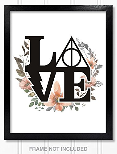 Confetti Fox Harry Potter Poster Wall Decor Gift - 8x10 Unframed Art Print - Floral Watercolor Love Symbol Decal Tattoo Deathly Hallows for Bathroom, Baby Nursery, Dorm